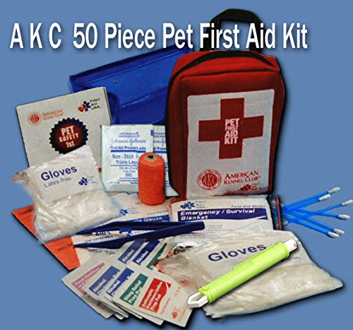 AKC-Pet-Safety-First-Aid-Kit-Complete-Compact-50-Piece-NOW-with-Tick-Removal-Tool-Red