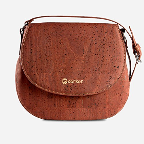 Leather Crossbody Gift Sustainable Vegan Bag Corkor Women Cork for Saddle Red Purse 8Iw7qHa1x