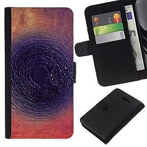 KLONGSHOP // Tirón de la caja Cartera de cuero con ranuras para tarjetas - Tinta Oscuro Resumen Ronda - Sony Xperia M2 //