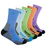 YUEDGE Women's Performance Wicking Crew Cotton Casual Socks For Outdoor Sport Hiking