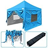 Quictent Privacy 10x10 EZ Pop Up Canopy Tent Instant Outdoor Party Tent with Sides Walls Wheeled Bag Waterproof 9.2ft Height Blue