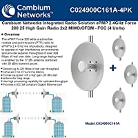 Cambium ePMP 2.4GHz Force 200 25High Gain Integrated Radio 2x2MIMO/OFDM-(4Pack)