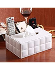 Rectangular Tissue Box Cover, ultifunction PU Leather Pen Pencil Remote Control Tissue Box Cover Holder Desk Storage Box Container for Home and Office Use (White Grid)