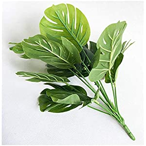 15.5 inch 2 branches Tropical Leaves Artificial Simulation Palm Monstera Fake Plant Decorative Flower arrangement Greenery Plants 9 leaves per branch for wedding Home Kitchen Party Supplies 4