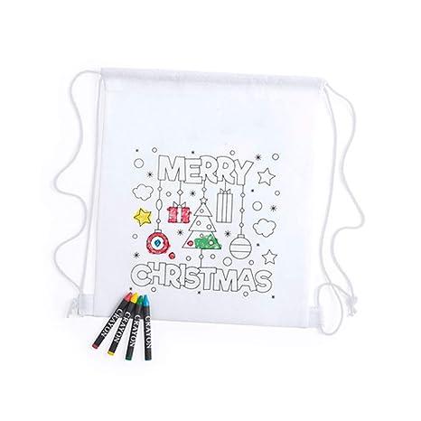 Lote de 20 Mochilas Infantiles Navidad para Colorear con 4 ...