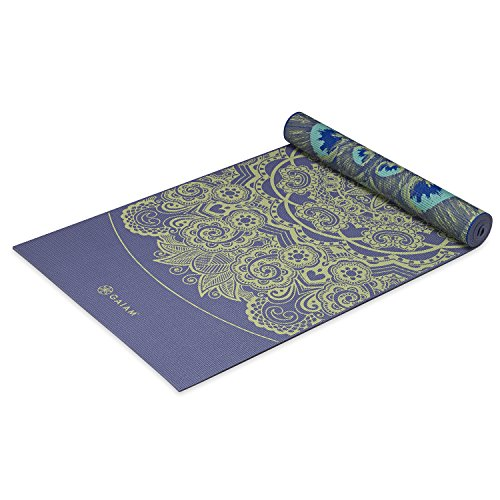 Gaiam Yoga Mat Premium 6mm Print Reversible Extra Thick