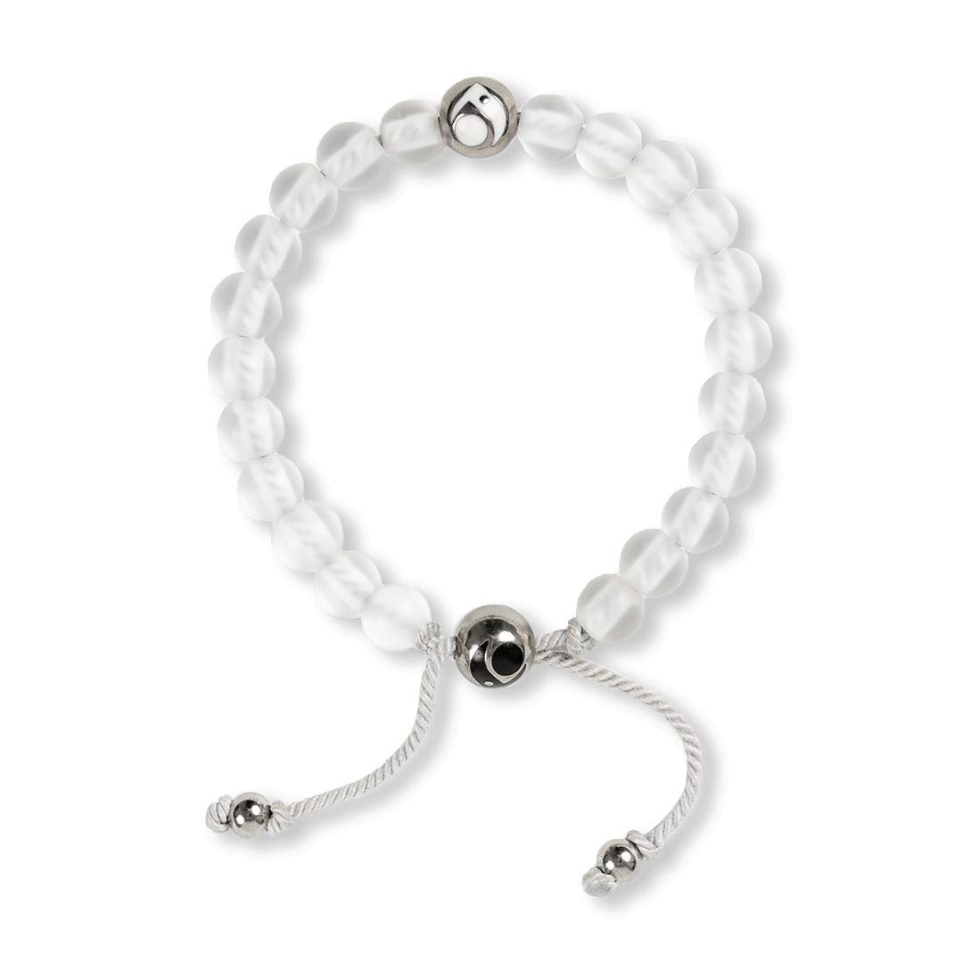 Lokai Metals Collection Glass Bead Bracelet, Frost/Silver, Small/Medium