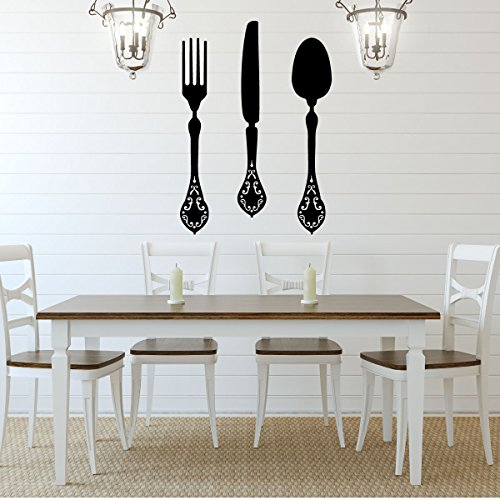 Fork, Knife and Spoon Elegant Vinyl Designs - Kitchen or Din