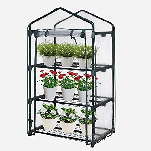 Olkheniif 3-Tier Mini Greenhouse, for Indoor Outdoor Portable Shelves-Grow Plants, Seedlings, Herbs, or Flowers in Any Season-Gardening Rack…