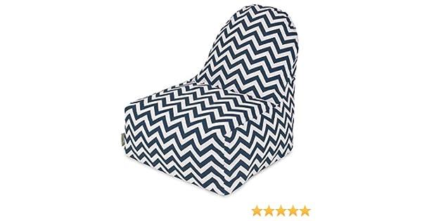 Amazon.com: Majestic Home Goods Chevron Kick-It Chair, Navy ...