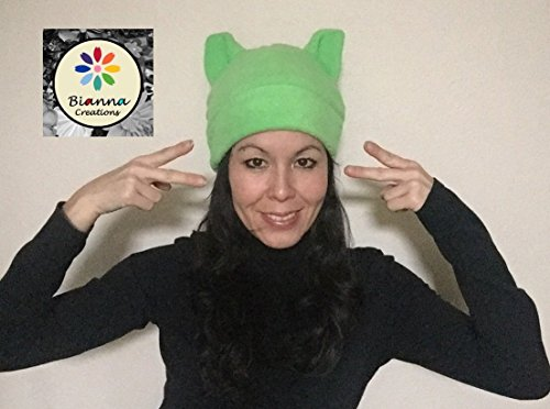 Handmade Science March Kawaii Lime Green fleece Pussyhat Pussy Pussy Cat Hat Pussycat Cosplay Anime Manga Earth Peace Climate Scientists Hat Beanie (Beanie Earth)