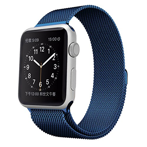 Apple Watch Band, Icesnail Full Magnetic Closure Clasp Mesh Loop Milanese Bracelet Replacement Bands Strap for Apple Watch Series 1, Series 2, Sport & Edition All Models, 38mm Blue