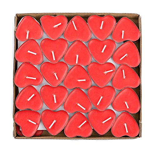 Yalulu 50Pcs Heart Shaped Smokeless Candles, Romantic Love Candle Floating Tealights Candle for Wedding, Birthday, Party, Festival (Red) ()