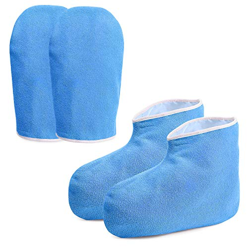 Hand & Foot : Treatments - Paraffin Wax Work Gloves & Booties, Wax Bath Hand Treatment Mitts Foot Spa Cover for Women, Thin Heat Therapy Insulated Soft Cotton Mittens Feet Hand Care Set - Blue
