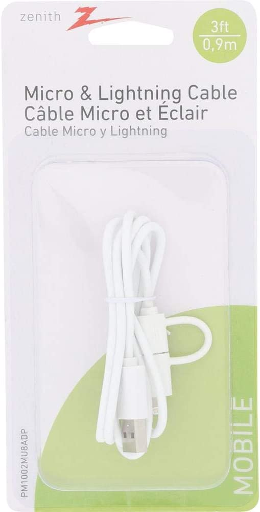 White Zenith PM1002MU8ADP Micro USB Cable with Lightning 8-pin Adapter 3-feet