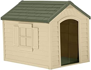 Suncast Outdoor Dog House with Door - Water Resistant and Attractive for Small to Large Sized Dogs - Easy to Assemble - Perfect for Backyards