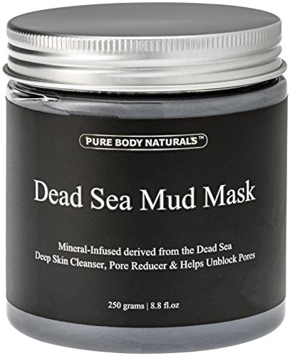 Pure Body Naturals Dead Sea Mud Mask for Face and Body, Purifying Face Mask for Acne, Blackheads, and Oily Skin, 8.8 Ounce ()