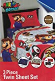 Super Mario Nintendo Odyssey 3-Piece Twin Bedding Sheet Set, 2018