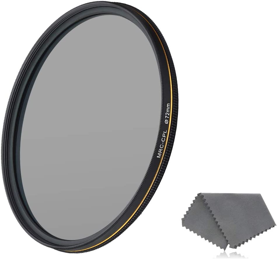 Weather-Sealed 16-Layer Multi-Resistant Nano Coated German Optics Glass Ultra Slim Circular Polarizer Filter with Lens Cloth LENSKINS 72mm CPL Circular Polarizing Filter for Camera Lenses