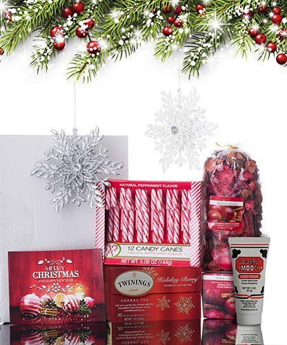 Christmas Gift Basket for Women: Ornaments, Tea, Candy Cane, Hand Cream, Potpourri Set for Her by Charmed Crates (Image #4)