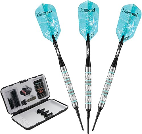 Viper Diamond 90% Tungsten Soft Tip Darts with Storage/Travel Case, Turquoise Rings, 18 Grams