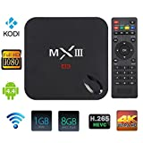 TopYart Google Android 4.4.2 Quad Core TV Box, XBMC/KODI MXIII MX3, Full HD Media Player 4K 3D Movie HDMI 1080p,1G RAM, 8G ROM, Dual ARM Cortex A9, Build in WiFi, Remote Control