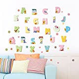 1 Pack Cartoon Alphabet Wall Stickers Mural Art Sticker Poster Decals Living Room Bedroom Kids Nursery Attractive Popular Dream Butterfly World Moon Star Ocean Sun Flower Vinyl Window Decor