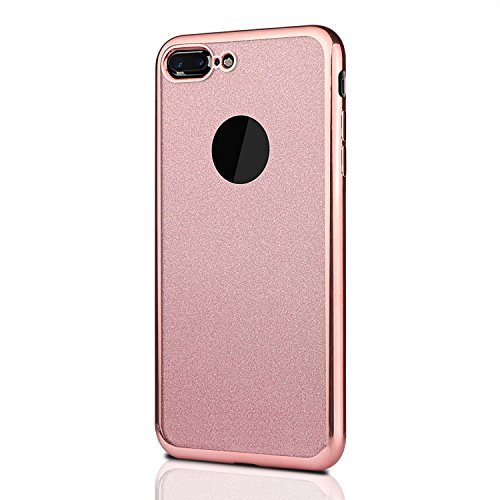 Shockproof TPU Soft Bling Cover Shimmering Back Case for iPhone 7 Plus With PE Ultra-Clear Screen protector Screen Film (Shimmering Bling)