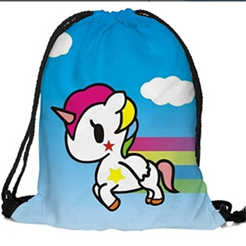 Iumer Drawstring Backpack Women 3D Print Canvas Shoulder Bag Gym Sports Sackpack #7 (Has Main Drawstring Compartment)