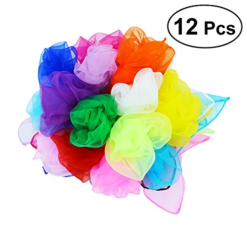 (TOYMYTOY 12pcs Dance Scarves Square Juggling Scarf Magic Scarves Movement Scarves Magic Tricks Kids Performance Props 45 x 45cm (Random Color))