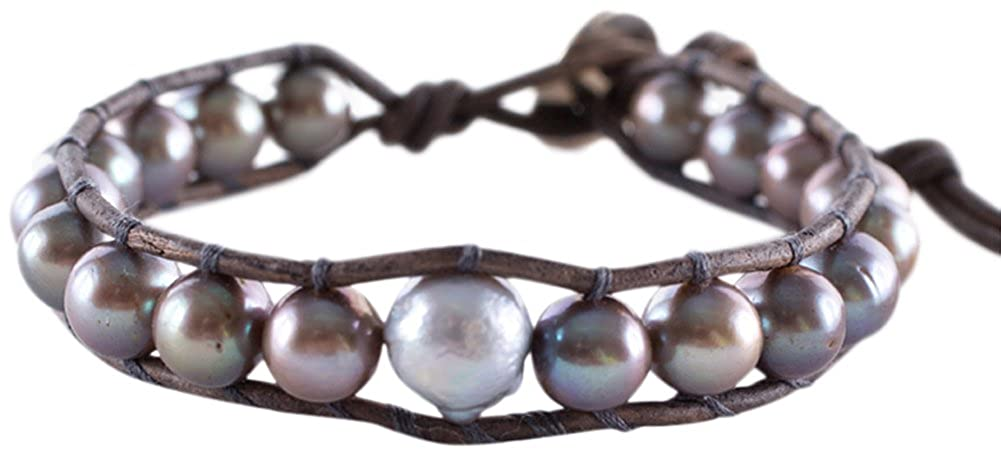 478c8c9909d2 Amazon.com: Chan Luu Taupe and Grey Freshwater Cultured Baroque Pearls on a  Taupe Leather Bracelet: Jewelry