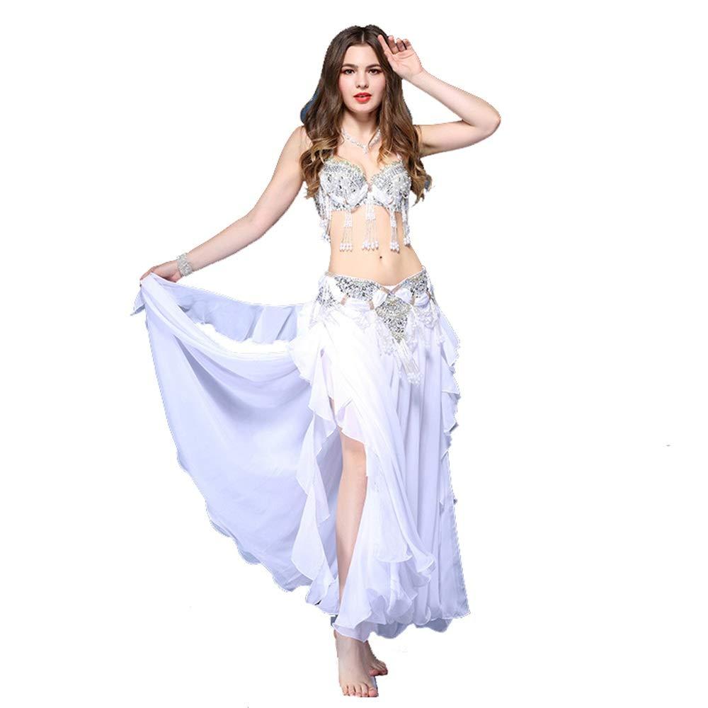 女性用アダルトシャイニーダンスパーティードレス、 ベリーダンス衣装ブラジャーとスカートセット女性ベリーダンスドレス衣装セットセクシーなベリーダンス衣装マキシスカートスーツドレスS、M、L タッセルスパークリングスパンコールラテンダンスドレス (色 : 白, サイズ : L) 白 Large