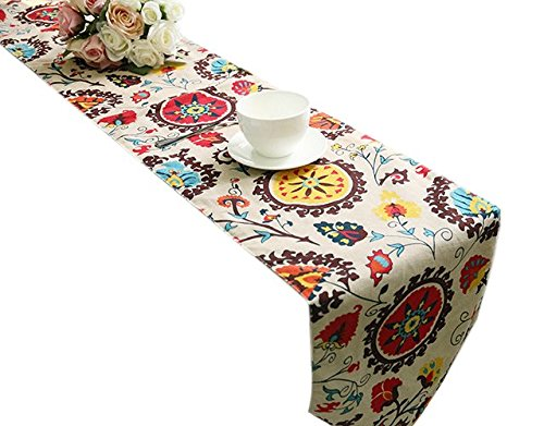 Paisley Table Runner - Yoovi Reversible Table Runner Ethnic Floral, Cotton and Linen Blend (11.8'' X 78'')