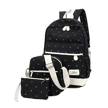 Mochilas Escolares Juveniles, Mochila Escolar Lona Backpack Conjunto de Bolsos 3 en 1 Mochila Escolar