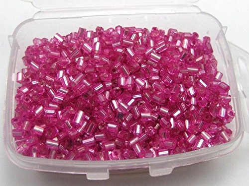 Pink 5000 Glass Tube Bugle Seed Beads 2X2mm Silver-Lined + Storage Box