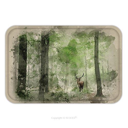 Costume Deer Stag (Flannel Microfiber Non-slip Rubber Backing Soft Absorbent Doormat Mat Rug Carpet Watercolour Painting Of Stunning Image Of Red Deer Stag In Foggy Autumn Colorful Forest Landscape 558014674 for)