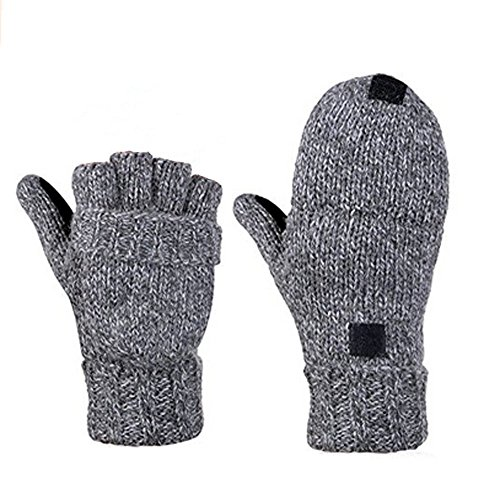 YYGIFT Women's Knitted Wool Glove with Leather Patch on Palm Micro Fleece Lined Warm Winter Gloves Half Fingers with A Foldable Full Finger Cover - Grey