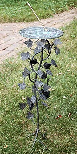 Rome B87 Grapevine Sundial Pedestal Base, Wrought Iron with Antique Finish, 27-Inch Height by Rome