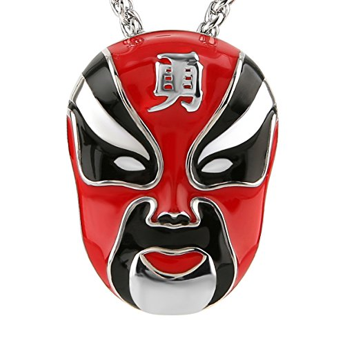 HZMAN Enamel Hand Painted Beijing Opera Facial Masks stainless steel Pendant Necklace - Chinese Mask Opera