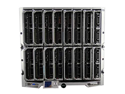 Dell PowerEdge M1000e Chassis with 8X M630 Blade Server, Per Blade (1x Xeon E5-2696 V3 2.3GHz 18 Core, 512GB DDR4, S130, 2X 200GB SATA 6Gbps 2.5 SSDs, 10GbE), 6X 2700W PSUs (Certified Refurbished)