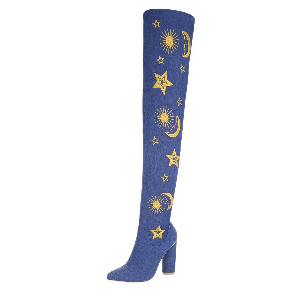Ital-Design Overknees Damenschuhe Overknees Pump High Heels Reißverschluss Stiefel Blau