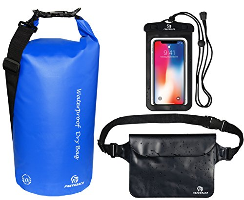 Freegrace Waterproof Dry Bags Set of 3 Dry Bag with 2 Zip Lock Seals & Detachable Shoulder Strap, Waist Pouch & Phone Case - Can Be Submerged Into Water - for Swimming (Navy Blue, 10L) Air Strip L/s Shirt