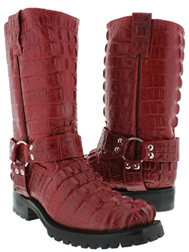- EL PRESIDENTE - Men's Red Full Crocodile Tail Leather Biker Motorcycle Boots 11.5 D(M) US