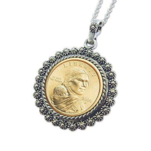 Sacagawea Dollar Pendant in Silvertone Bezel