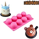 Jacobake 8-Cavity Ball Shape Silicone Mold - Easy Baking Tools for Mousse Cake Chocolate Dessert Ice Cream Bombes - Nonstick & Easy Release - BPA free Food Grade Silicone