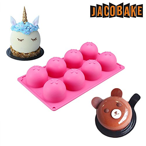 Jacobake 8-Cavity Ball Shape Silicone Mold - Easy Baking Tools for Mousse Cake Chocolate Dessert Ice Cream Bombes - Nonstick & Easy Release - BPA free Food Grade Silicone by Jacobake (Image #7)