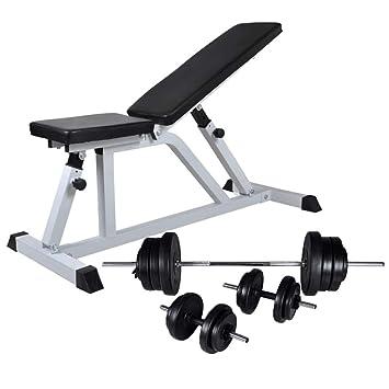 vidaXL Banco Musculación Barras Mancuernas 60,5kg Pesa Ejercicio Entrenamiento: Amazon.es: Deportes y aire libre