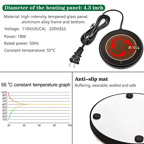 ZOIIBUY Mug Warmer 110V 15W Electric Beverage Warmer Coffee Cup Warmer Plate Up to 60℃ for Tea,Water,Cocoa,Soup or Milk, 8 Hour Auto Shut Off by Zoiibuy (Image #6)