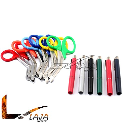 LAJA IMPORTS ASSORTED RAINBOW 6 PCS PINK EMT FIRST RESPONDER 7.5'' SHEARS + ASSORTED RAINBOW PENLIGHTS - IDEAL GIFT FOR NURSES, EMT, FIREFIGHTER, POLICE AND MILITARY by LAJA IMPORTS®