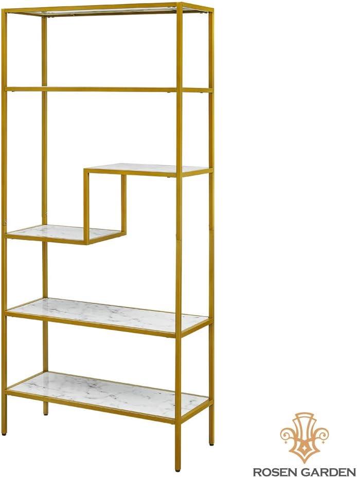ROSEN Garden Bookshelf 5-Tier Bookcase, Storage Organizer Open Shelf, Modern Metal Frame and Faux Marble Furniture for Home Office Decor Display, White
